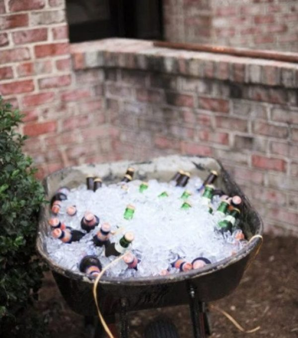 Wheelbarrow turned into a beer cooler