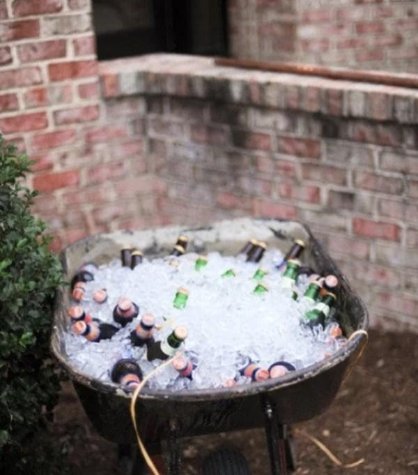 Wheelbarrow turned into a beer cooler