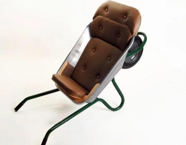 Wheelbarrow turned into a chair