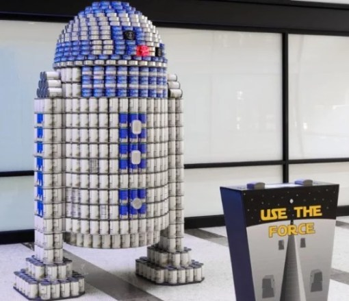 R2-D2 made with tins of food