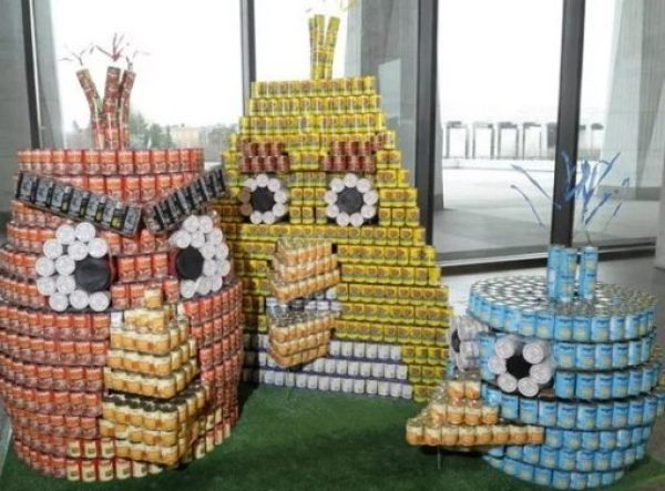 Angry Birds made with tins of food