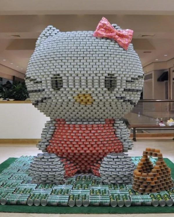 Hello Kitty made with tins of food