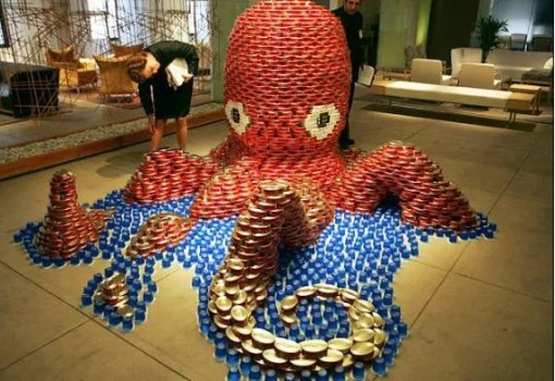 octopus made with tins of food