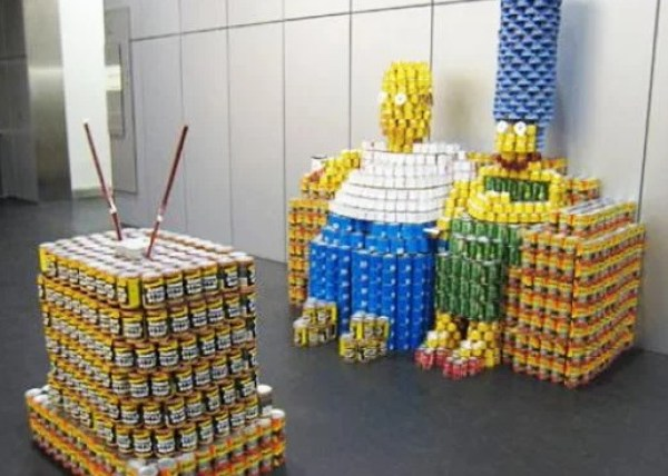 The Simpsons made with tins of food