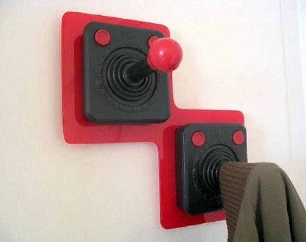Retro Joysticks used as coat hooks