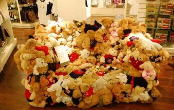 Sofa made from teddy bears