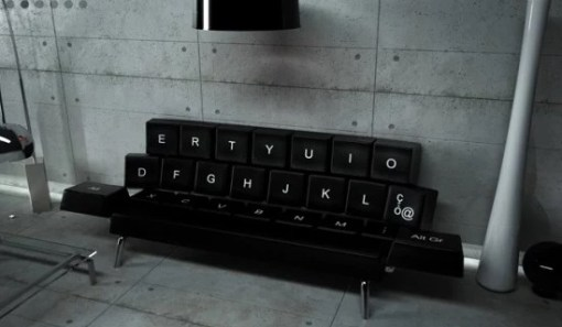 Computer keyboard inspired sofa