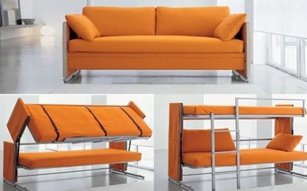 Sofa that transforms into a set of bunk beds