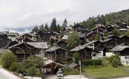 Vercorin, Swiss Alps, Switzerland - Artist: Felice Varini