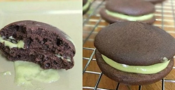 Lower-calorie Chocolate Whoopie Pies with Green Tea Cream