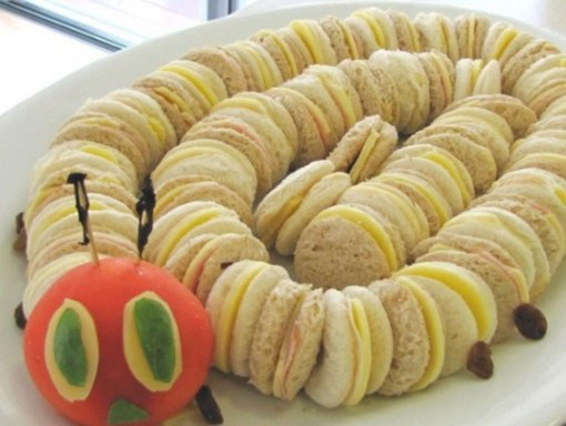 Caterpillar Made From Mini sandwiches