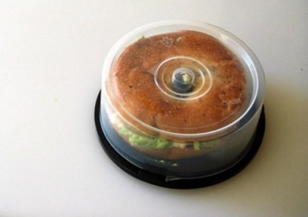 Empty Disk Spindles Turned into a Bagel Holder