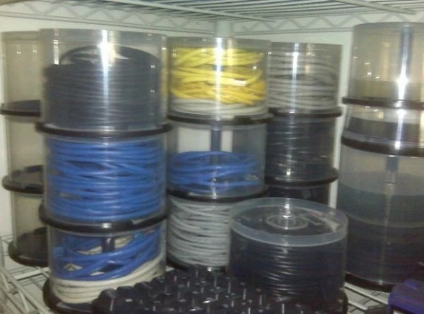 Empty Disk Spindles Turned into Cable Organizer