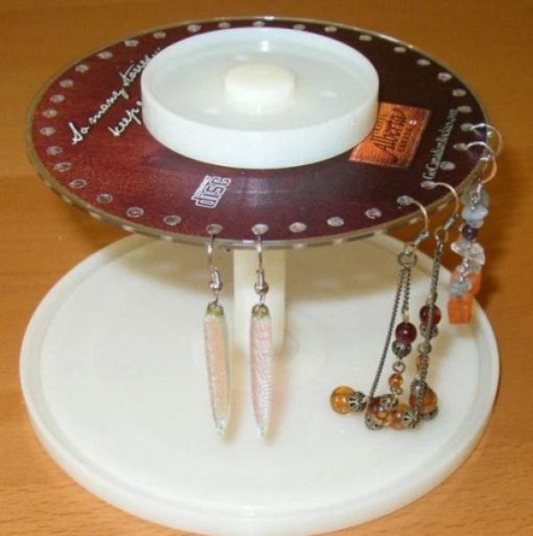 Empty Disk Spindles Turned into Earring Stand