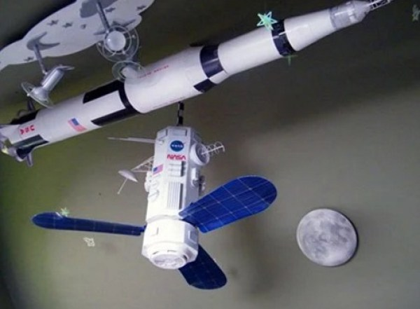 DIY space satellite ceiling fan