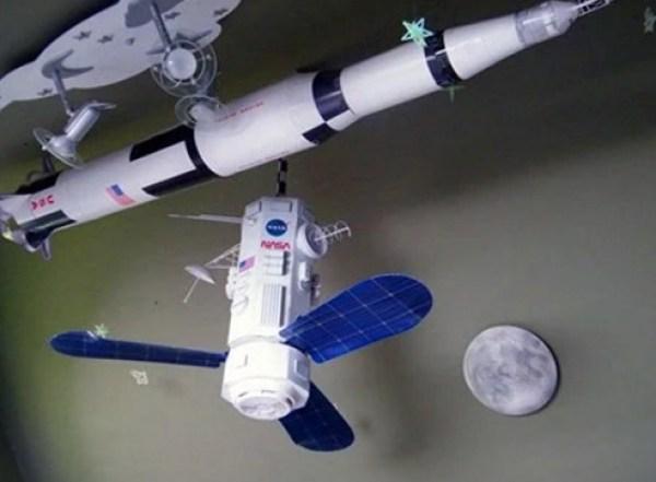 DIY space satellite ceiling fan