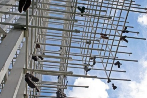 Shoe Tossing: Shoes on Scaffolding