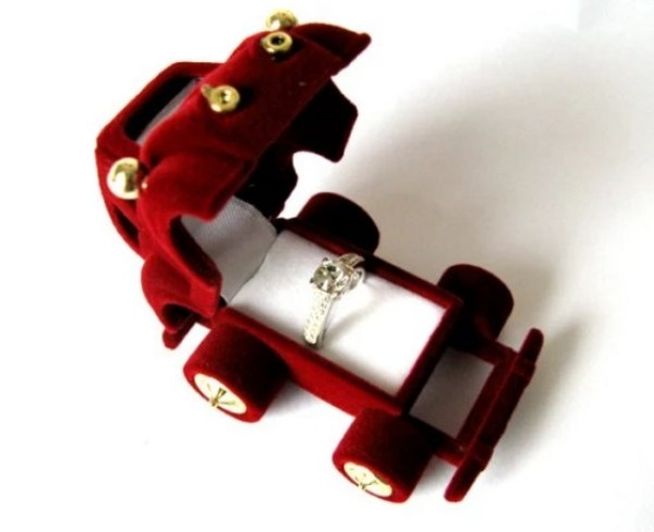 Rare Vintage Red Beetle Car Ring Box Kawaii Cute