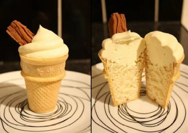 Ice Cream Cone Cupcake With a Flake