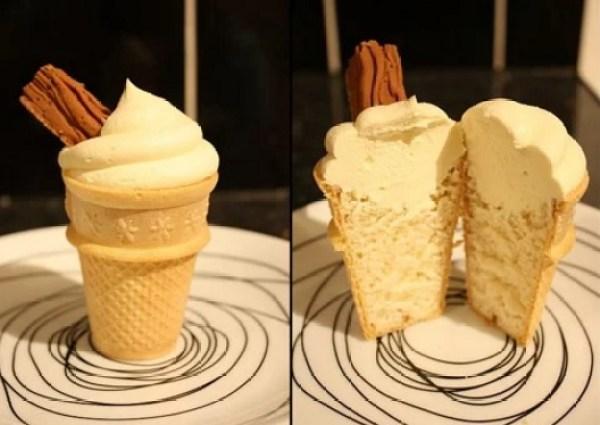 Ice Cream Cone Cupcake With a Flake