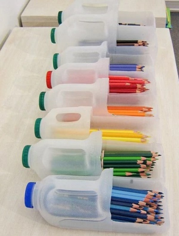 Stationery Organiser Made With Empty Plastic Milk Bottles