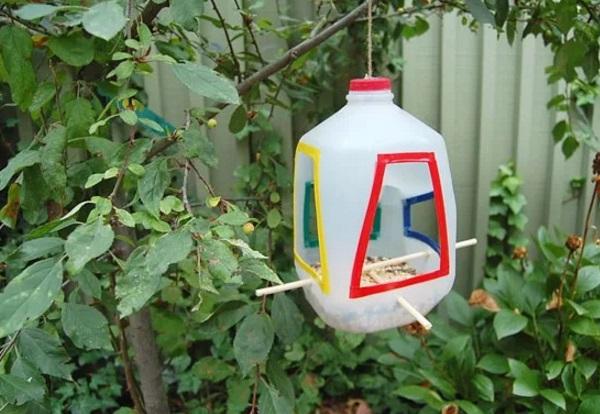 Bird Feeder Made With an Empty Plastic Milk Bottle