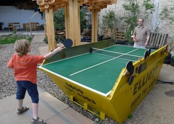 Refuse Skip made into Ping Pong table