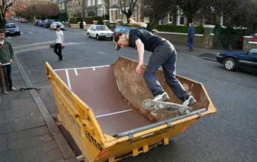 Refuse Skip made into half-pipe