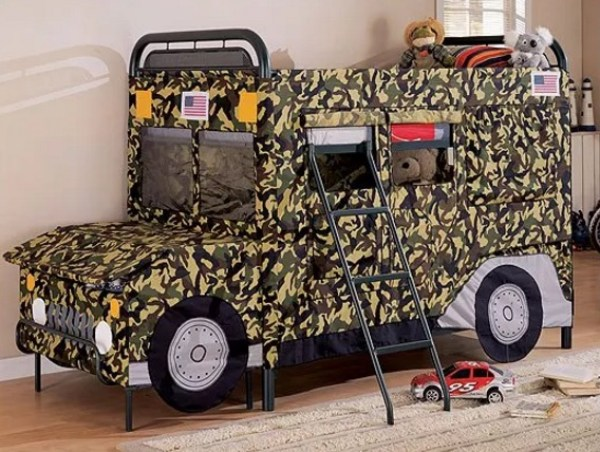 Jeep Truck Twin Bunk Bed With Toy Chest In Front