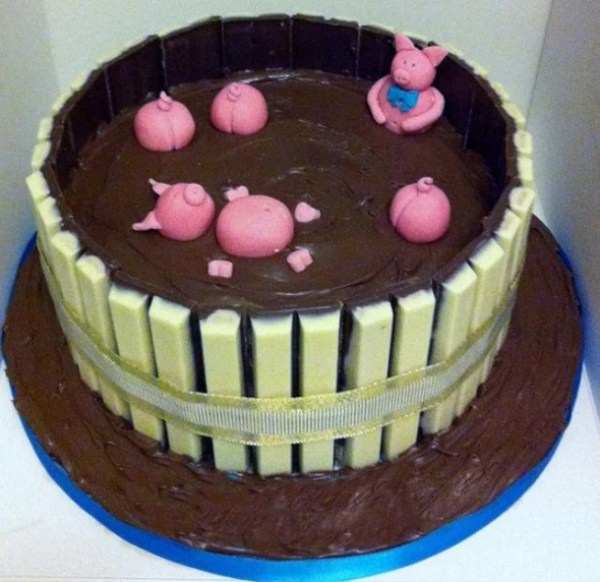 White Chocolate Kit Kat Style Pigs in mud Cake