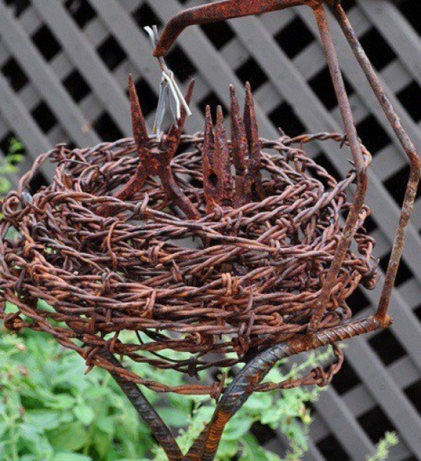 Birds Nest made from Barbed Wire