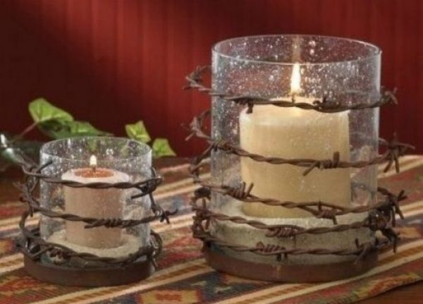 Votive Candle Holder made from Barbed Wire