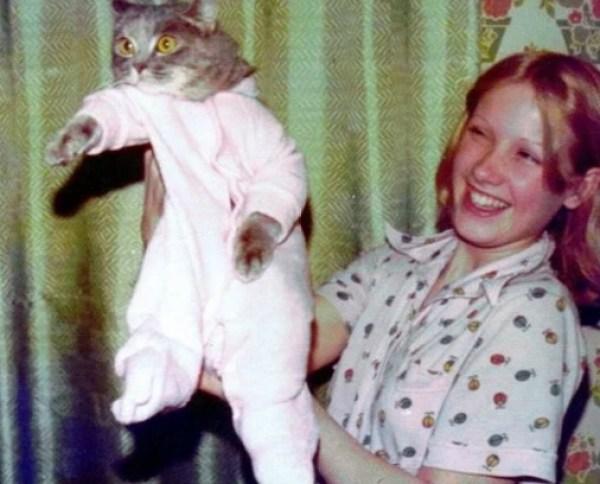Cat In Pink Baby Pajamas