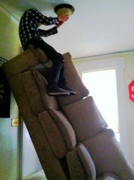 Sofa used as a ladder
