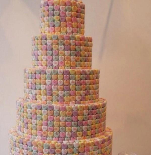 Love Heart covered wedding cake