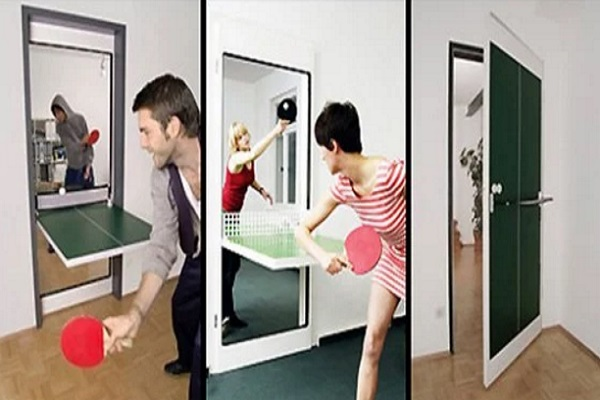 Door made into a table tennis game