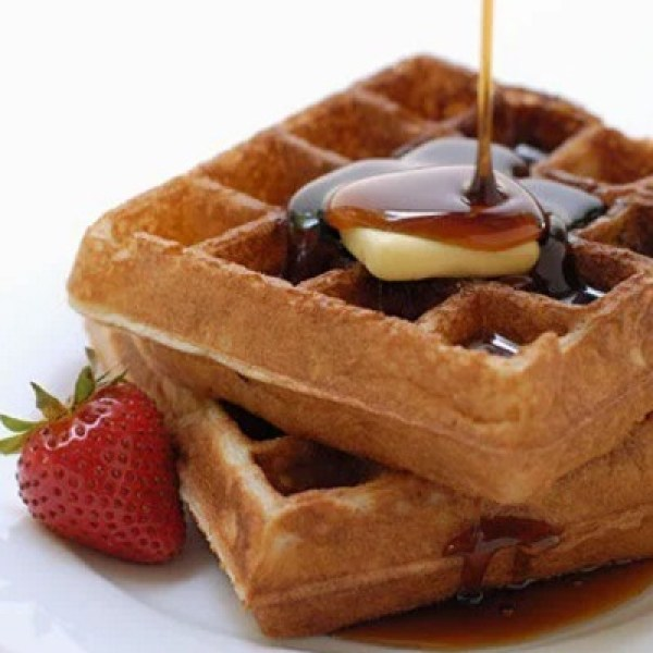 Pumpkin Waffles With Maple-Walnut Syrup