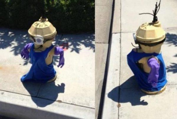 Art attacked fire hydrant: Minion theme
