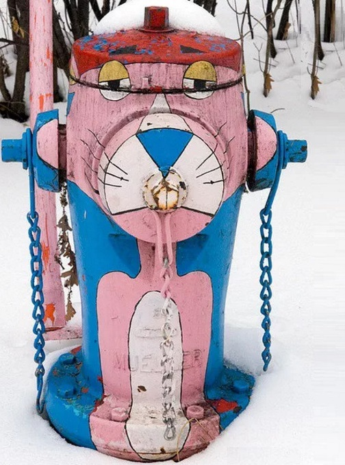 Art attacked fire hydrant: pink panther theme