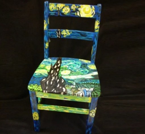 Vincent Van Gogh inspired wooden painted chair