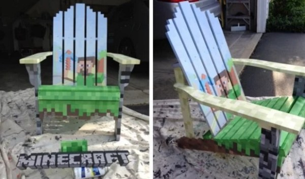Minecraft wooden painted chair