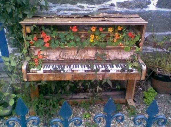 Piano Turned into garden ornament