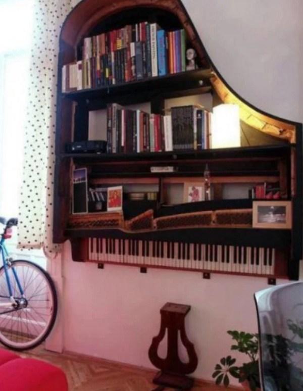 Piano Turned into book shelf