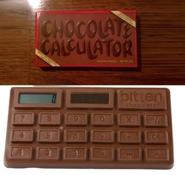 Calculator shaped like a chocolate bar