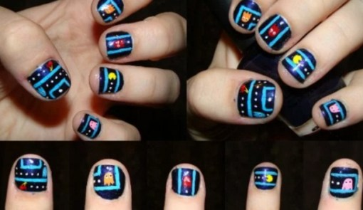 Top 10 nerdy and unusual nail art pacman nail art prinsesfo Image collections