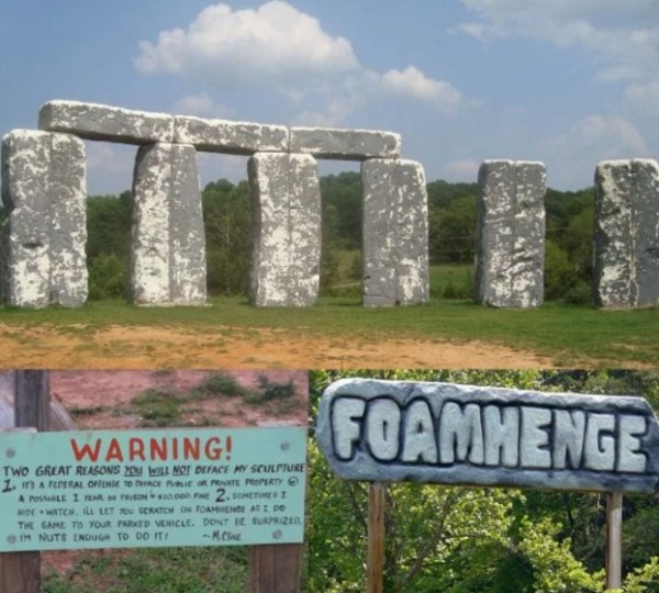 Stonehenge replica made of foam