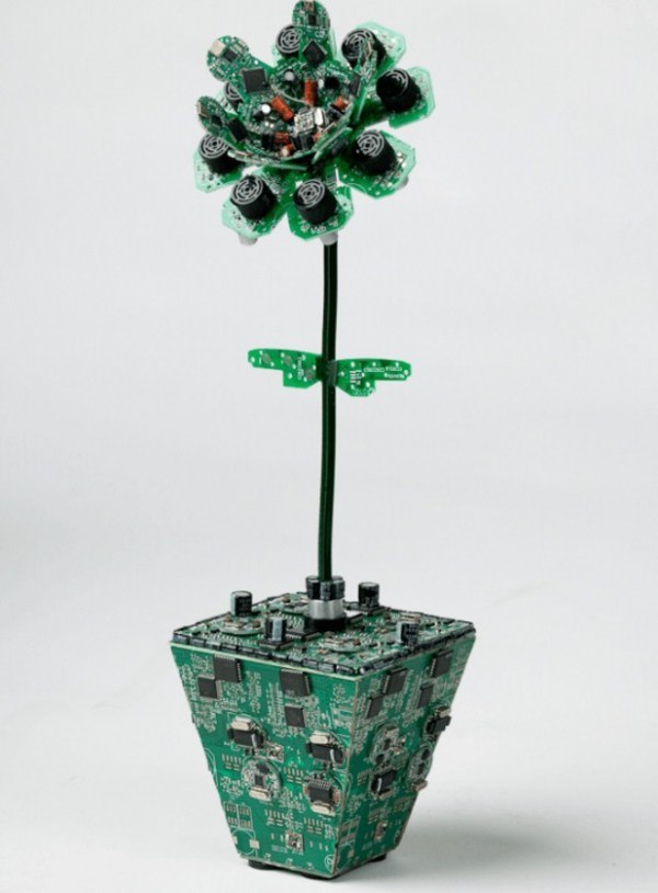 Potted Flower made with Printed circuit boards (PCB)