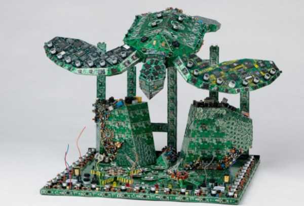 Diving Sea Turtle made with Printed circuit boards (PCB)