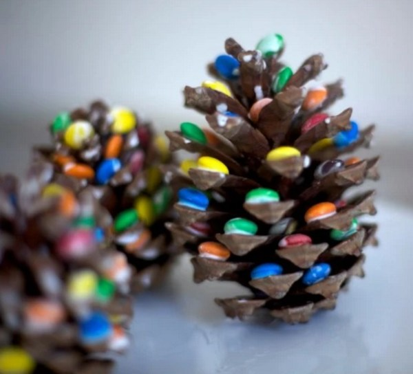 Pine Cones Turned into Christmas decorations