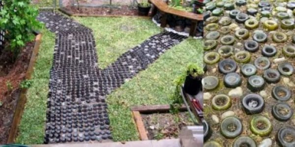Garden path made of old bottles